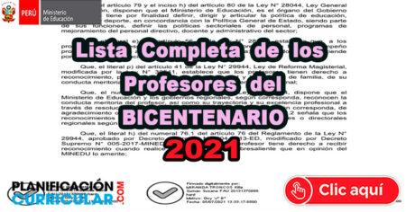 LISTA COMPLETA DE LOS DOCENTES DEL BICENTENARIO - 2021