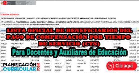 Aquí Lista Oficial de Beneficiarios del Pago de Compensación por Tiempo de Servicio (CTS) Para Docentes y Auxiliares