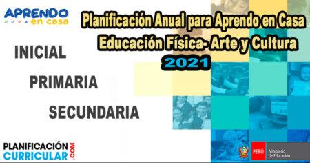 PLANIFICACIÓN ANUAL DE EDUCACIÓN FÍSICA, ARTE Y CULTURA INICIAL PRIMARIA Y SECUNDARIA