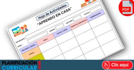 HOJA PARA PLANIFICAR LAS ACTIVIDADES DE APRENDO EN CASA 2021