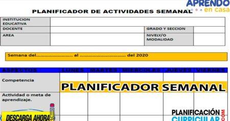 PLANIFICADOR SEMANAL DE ACTIVIDADES SOBRE EL TRABAJO DE EDUCACIÓN A DISTANCIA