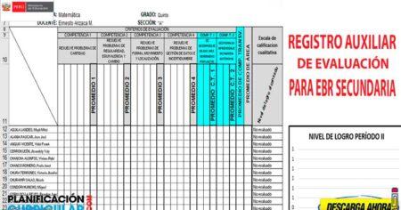 REGISTRO DE EVALUACIÓN AUXILIAR Y OFICIAL PARA EBR SECUNDARIA 2021 (EDITABLE)