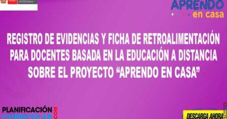 REGISTRO DE EVIDENCIAS PARA DOCENTES Y FICHA DE RETROALIMENTACIÓN DE LA ESTRATEGIA APRENDO EN CASA
