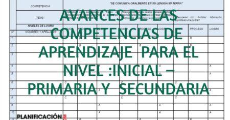 AVANCES DE LAS COMPETENCIAS DE APRENDIZAJE PARA EL NIVEL :INICIAL – PRIMARIA Y SECUNDARIA