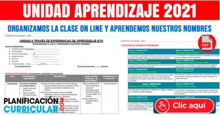 UNIDAD DE APRENDIZAJE 2021 (ORGANIZAMOS LAS CLASES ON LINE Y APRENDEMOS NUESTROS NOMBRES)